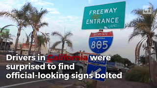 Road Sign Goes Viral Hours After California Becomes Sanctuary State - Video