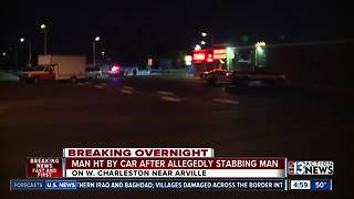 Stabbing suspect hit by car - Video