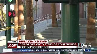 Car drives onto steps of Las Vegas courthouse - Video