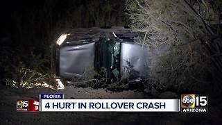 Four teens hurt in Peoria rollover crash - Video