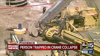 One person unaccounted for after crane topples over near Sky Harbor - Video