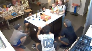 Hilarious moment baby trolls family with impromptu group squat session