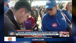 Teachers' demands rejected as walkout continues into day 8 - Video