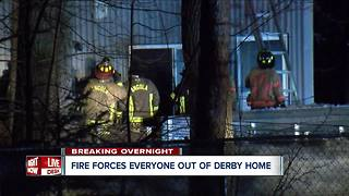 Three-alarm fire in Derby forces two out of home - Video