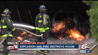 Explosion, fire destroys home in Camby - Video