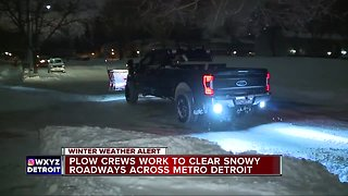 Plow crews work long into the night across Metro Detroit during first snowstorm of winter