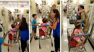 Soldier Surprises Sister In Supermarket After Year Away - Video