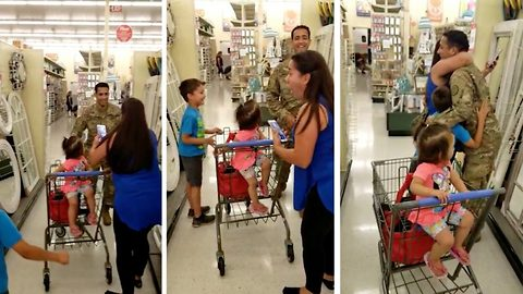 Unexpected hero in bagging area: Sister stunned to tears as soldier brother surprises her at supermarket after a year away