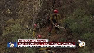 Holy Fire explodes to 4,000 acres, 0 percent contained - Video