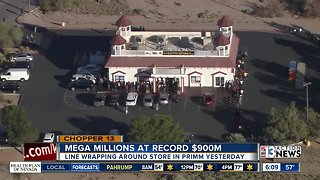 People line up to buy lottery tickets in Primm - Video