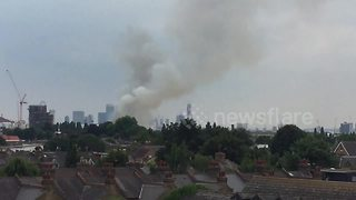Fire erupts in East London - Video