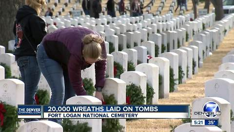 Thousands of Christmas wreaths laid on headstones at Fort Logan National Cemetery