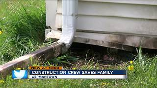 Construction crews stop fire after lightning strikes Germantown home - Video
