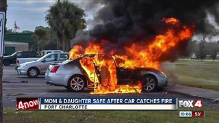 Car bursts into flames at The Academy