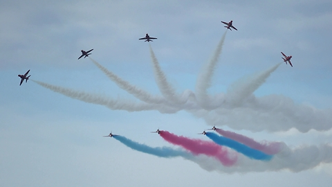 Amazing air show display from the Red Arrows at Rhyl