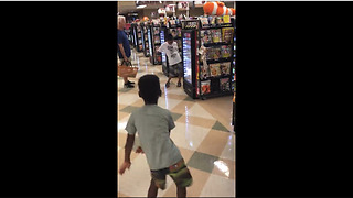 Little Boy Has Impromptu Dance-Off With Another Boy At Grocery Checkout - Video