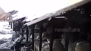 Man escapes death after canopy collapses - Video