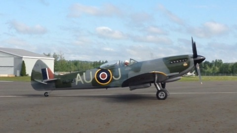 Incredibly rare and iconic WWII Spitfire aircraft takeoff