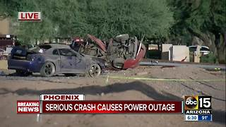 Deadly crash causes power outage in west Phoenix - Video