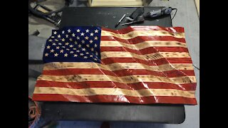 Making a wavy wooden flag