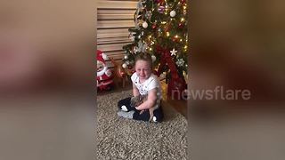 Girl breaks into tears when receiving a puppy for Christmas - Video