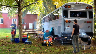 Family Ditch Expensive Rents To Live In A Converted School Bus | MAKING MAD - Video