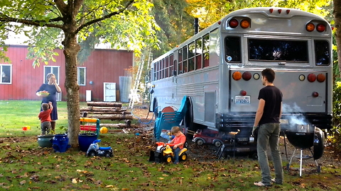 Family Ditch Expensive Rents To Live In A Converted School Bus | MAKING MAD
