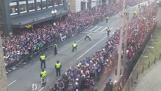 Boston Police Nail Field Goal Kick During Patriots Parade on Tremont Street