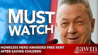 Homeless hero awarded free rent after saving children - Video