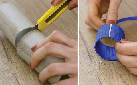 DIY Ring-shaped napkin holders from paper towel roll