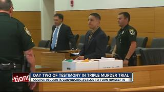 Day two of testimony in triple murder trial - Video