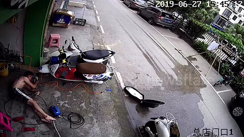 Chinese man suffers lengthy electric shock after being unable to let go of car wash pump