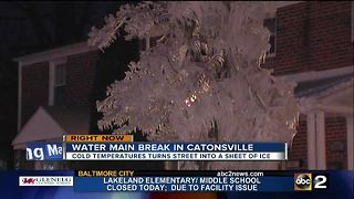 Catonsville water main break turns street into a sheet of ice - Video