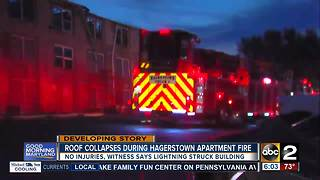 Possible lightning strike sparks apartment fire, dozens displaced - Video