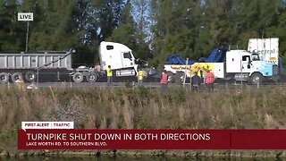 Turnpike closed after crashes involving a semi and another truck in central Palm Beach County
