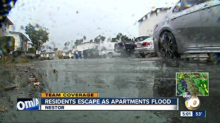 Residents escape as apartments flood