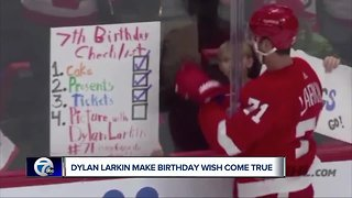 Dylan Larkin grants birthday wish on-ice for seven-year-old Red Wings fan