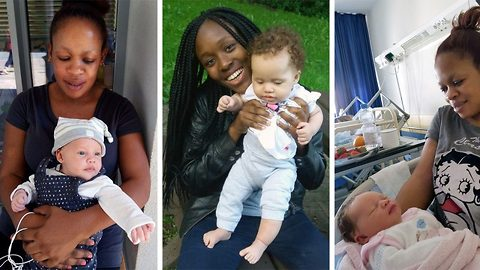 Black mum who gave birth to blue-eyed baby with white skin and red hair