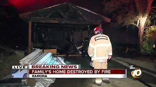 Family's home burned to the ground in Ramona - Video