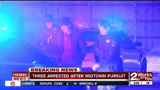 Three people arrested after overnight pursuit in Midtown Tulsa - Video