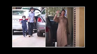 Mom to be Kareena Kapoor snapped as she visits karisma's house with Taimur ahead of her delivery