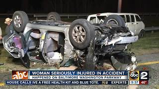 Woman seriously injured in accident on Baltimore Washington Parkway - Video