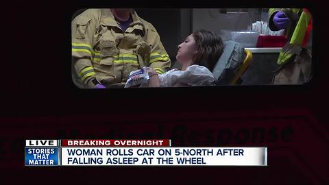 Woman rolls car on 5-N after falling asleep at the wheel