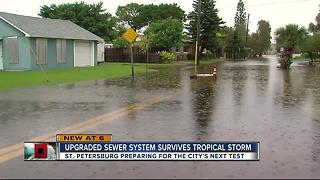 St. Petersburg Sewage System holds during TS Emily - Video