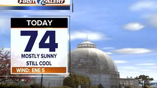 Mostly sunny, cool