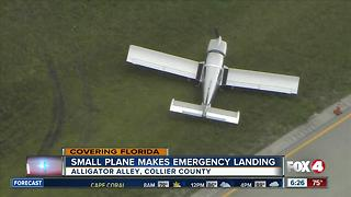 Small plane makes emergency landing on Alligator Alley - Video