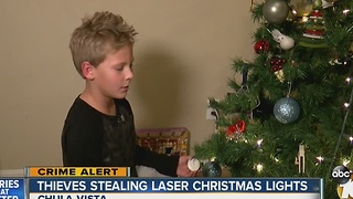 Thieves stealing laser Christmas lights - Video