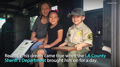 A group of local law enforcement officers made this little boy's dream come true