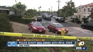 Police shoot man armed with knife, rifle - Video