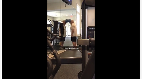 Elderly man at gym does very strange workout